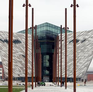 A view of the Titanic Belfast, which has been built in the derelict shipyard where the ill-fated liner was constructed