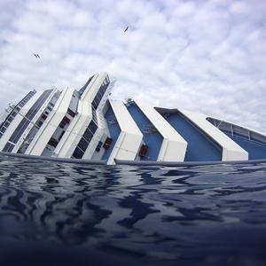 The bow of the Costa Concordia off the Tuscan island of Giglio (AP)