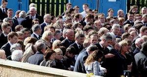 The Spence family arrive at Ballynahinch Baptist church, in Co Down for the funeral service of Noel Spence, 68, and his sons Graham, 30, and Nevin, 22. Photo  PA