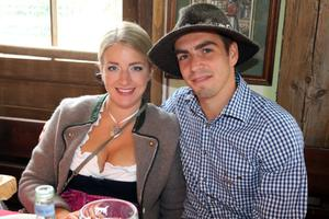 MUNICH, GERMANY - OCTOBER 07:  Philipp Lahm of FC Bayern Muenchen attends with his wife Claudia Lahm the Oktoberfest beer festival at the Kaefer Wiesnschaenke tent on October 7, 2012 in Munich, Germany.  (Photo by Thomas Niedermueller/Bongarts/Getty Images)