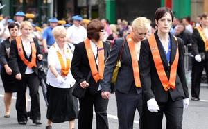 12/7/11 Mandatory Credit Darren Kidd/Presseye.com Orangemen take part in Twelfth of July parades as they make their way to the field at Shaws Bridge, Belfast.The parade makes its way towards the Lisburn Rd, Womans LOL