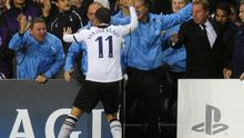 Rafael van der Vaart of Tottenham celebrates with the Tottenham bench after scoring during the  UEFA Champions League Group A match between Tottenham Hotspur and FC Twente at White Hart Lane on September 29, 2010 in London, England
