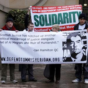 Supporters of Tommy Sheridan outside Glasgow High Court