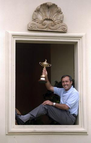 (FILE PHOTO)  Spanish Golf Legend Seve Ballesteros Dies At 54.Charismatic former World No. 1, five time Major winner, five time Ryder Cup winner, both as a player and as captainand winner of the European Tour's Order of Merit on six occasions.http://www.gettyimages.co.uk/Search/Search.aspx?EventId=113809426 28 Sep 1997:  European team captain Seve Ballesteros proudly holds the trophy after victory over the USA in the Johnnie Walker Ryder Cup at the Valderrama Golf Club in Sotogrande in Spain.  \ Mandatory Credit: Stephen Munday /Allsport
