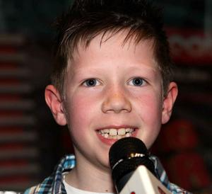 Gavin Gibben from Mayobridge on stage at the City Beat Young Star search auditions