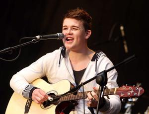 Eoghan Quigg performing at the Clipper Homecoming Festival concert in Ebrington Square