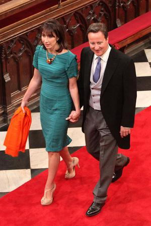 Prime Minister David Cameron and wife Samantha Cameron in Westminster Abbey in London, where Prince William and Kate Middleton will marry later today. PRESS ASSOCIATION Photo. Picture date: Friday April 29 2011. Photo credit should read: Anthony Devlin/PA Wire