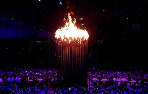 The Olympic Flame burns after it was lit at the end of the London Olympic Games 2012 Opening Ceremony at the Olympic Stadium, London. PRESS ASSOCIATION Photo. Picture date: Saturday July 28, 2012. See PA story OLYMPICS Ceremony. Photo credit should read: Dave Thompson/PA Wire. EDITORIAL USE ONLY
