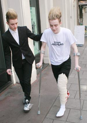 John and Edward Grimes aka Jedward out in London with Edward sporting a cast after tearing knee ligaments during a fall yesterday at T4 On The Beach, UK - 05.07.10. Pictures: VIPIRELAND.COM