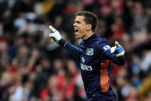 LONDON, ENGLAND - APRIL 08:  Wojciech Szczesny of Arsenal celebrates after Mikel Arteta of Arsenal scored their first goal during the Barclays Premier League match between Arsenal and Manchester City at Emirates Stadium on April 8, 2012 in London, England.  (Photo by Michael Regan/Getty Images)