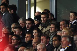 LONDON, ENGLAND - JANUARY 09:  David Beckham watches the game from the grandstand during the FA Cup Third Round match between Arsenal and Leeds United at the Emirates Stadium on January 9, 2012 in London, England.  (Photo by Clive Mason/Getty Images)