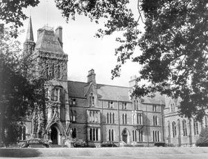 Methodist College Belfast- Peaceful scene at the school in holiday time, 1957.