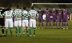 Donegal Celtic and Cliftonville observe a minutes silence in respect of Michaela Harte at the game in west Belfast