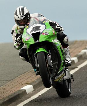 Michael Dunlop Street Sweep Kawasaki at Blacks hill during  17th May 2011 Superbike practice for the North West 200.
