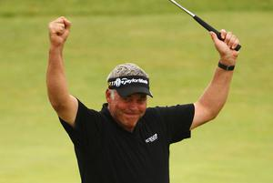 SANDWICH, ENGLAND - JULY 17:  Darren Clarke of Northern Ireland celebrates victory on the 18th green during the final round of The 140th Open Championship at Royal St George's on July 17, 2011 in Sandwich, England.  (Photo by Scott Halleran/Getty Images)