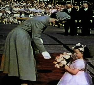 Flowers for the new monarch during her visit to Lisburn in July 1953.