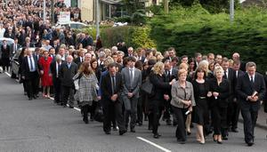 @Press Eye Ltd Northern Ireland -19th September 2012Mandatory Credit - Brian Little/ PresseyeThe funeral cortage  of Noel Spence and his two sons Graham (30) and Nevin (22) at Ballynahinch Baptist Church, who died in an farming accident on Saturday evening.