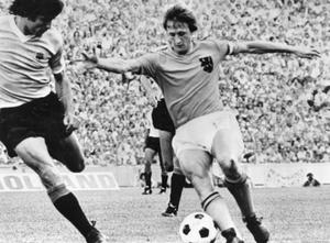 <b>4. Cruyff turn</b><br /> The Dutch are widely considered the best team to have never lifted the World Cup, and that was never so true as in 1974. Under the guidance of Rinus Michels, the Oranje played their Total Football style. Positions were rendered meaningless as the players simply did what was necessary of them. If they needed to attack, they attacked. If a player was called on to defend, they defended. It made for an incredibly exciting team to watch, but if individuals were singled out, it would be the legendary Johan Cruyff. He's the subject of this countdown moment with a move so sublime it's since been named after him - the Cruyff turn. Football fans love a trick and this one was particularly smooth. The world first got a glimpse of it when Cruyff performed it against Sweden, and since that moment, it's become a regular sight upon the football field. Holland would reach the final that year, but were beaten by West Germany 2-1.