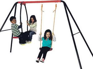 """<b>5. Early Learning Centre Swing and Glider</b>  £50, elc.co.uk  This brightly coloured swing set features a strong metal frame with a height-adjustable rope swing and two-person """"glider-rider""""."""