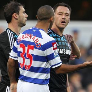Chelsea captain John Terry, right, and QPR defender Anton Ferdinand during October's stormy Premier League match at Loftus Road