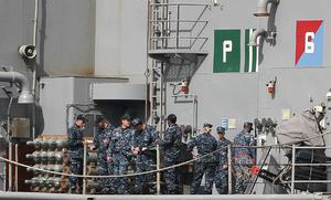 Seamen  on the US Navy Ship USS Fort McHenry in Dublin port