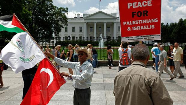 Demonstrators gather in front of the White House to protest against US funding of Israel in Lafayette Park June 1, 2010 in Washington, DC