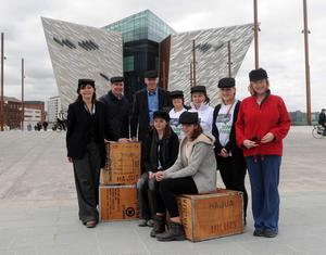 Titanic Building Belfast 2nd Day Open - 1 April 2012 Organisers prepare for the 'Yardmen Walk and Cycle' being held at Titanic yesterdayto raise funds for bowel cancer awareness
