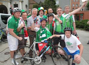 The Pedal to Poland charity team who cycled from Dublin, with RTE presenter Pat Kenny on their arrival in Gdansk, Poland before the UEFA Euro 2012, Group C match against Spain