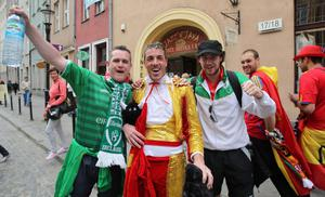 Republic of Ireland and Spainish fans in Gdansk, Poland before the UEFA Euro 2012, Group C match
