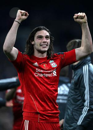Liverpool's Andy Carroll celebrates winning the Carling Cup Final at Wembley Stadium, London