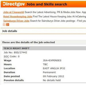 A screengrab on the Jobseekers' Plus website of a job advert for Tesco that was later amended
