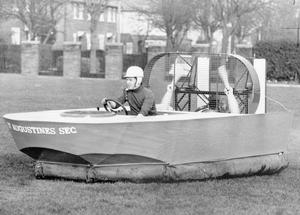 St. Augunstine Sec- 18 yesr-old Michael Blaney tests the engines of the hovercraft, 1972.