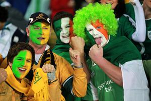 Australia and Ireland fans in the stands during the IRB Rugby World Cup match at Eden Park, Auckland, New Zealand