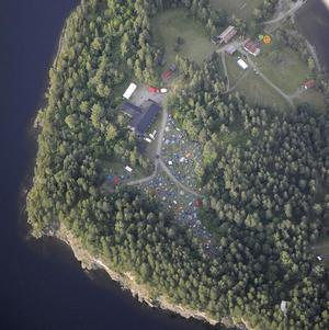 An aerial view of Utoya Island, where a Labour Party youth camp was attacked by a gunman (AP)
