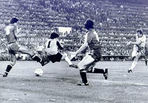 Northern Ireland Gerry Armstrong shoots past the Spanish keeper Arconada and defenders Camacho and Alonso