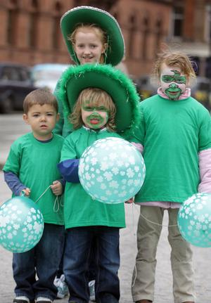 The St Patricks Day parades, Belfast 09. Jack Wilson, Joel McLean, Georgia Beggley and Erin Mills all dressed for the occasion