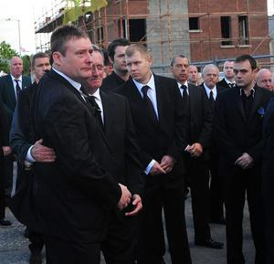 Pacemaker Press 2/8/10 Jimmy White attends the funeral ofFormer Snooker World Champion Alex Higgins as his coffin leaves the Donegal Road for his Funeral at St Anne's Cathedral in Belfast , Alex died after suffering from cancer Pic Colm Lenaghan/Pacemaker