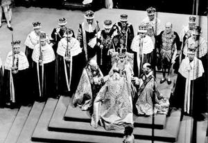 2/6/1953. Bishops pay homage to Queen Elizabeth II, at her coronation.