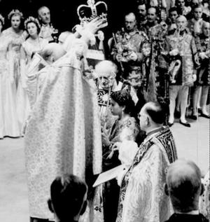 2/6/1953, of the coronation in Westminster Abbey of Britainís Queen Elizabeth II. 50 years on the anniversary will be marked later Monday June 2, 2003, with a service in the Abbey, attended by members of the Royal family, invited guests and 1,000 members of the public.