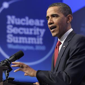 US President Barack Obama during a news conference at the end of the Nuclear Security Summit