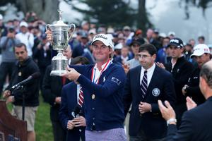 SAN FRANCISCO, CA - JUNE 17:  Webb Simpson of the United States celebrates with the trophy alongside Glen Nager, President of the USGA. after Simpson's one-stroke victory at the 112th U.S. Open at The Olympic Club on June 16, 2012 in San Francisco, California.  (Photo by David Cannon/Getty Images)
