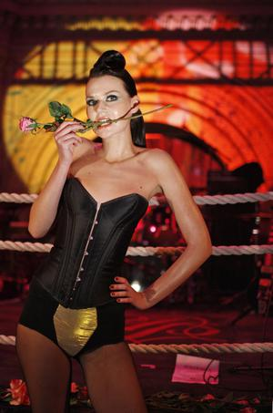A model presents fashion of the autumn/winter 2008/2009 lingerie collection by Agent Provocateur