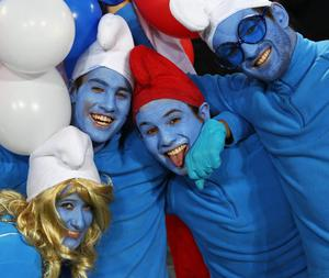 AUCKLAND, NEW ZEALAND - SEPTEMBER 24:  France fans dressed as Smurfs pose prior to the IRB 2011 Rugby World Cup Pool A match between New Zealand and France at Eden Park on September 24, 2011 in Auckland, New Zealand.  (Photo by Phil Walter/Getty Images)