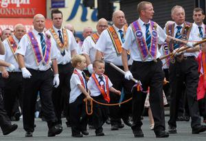 Presseye Northern Ireland - 12th July 2012 Mandatory Credit - Photo-William Cherry/PresseyeLisburn District Orangemen walk through the streets of Lisburn on their way to Crumlin where over 70 Lodges will be on parade in to the 70 Lodges will be on parade in the South Antrim Combine demonstration.