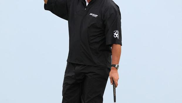 Darren Clarke celebrates after making a birdie on the 12th during round three of the 2011 Open Championship at Royal St George's, Sandwich