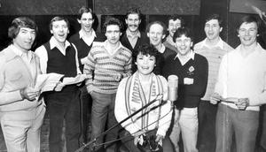 "Members of Northern Ireland's 1982 football team with Dana, recording the World Cup song ""Yer Man""."