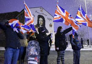 Loyalists take part in a protest in Sandy Row, south Belfast, on Friday evening