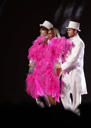 British group Girls Aloud perform at the Brit Awards 2009 at Earls Court exhibition centre in London, England, Wednesday, Feb. 18, 2009. (AP Photo/MJ Kim)