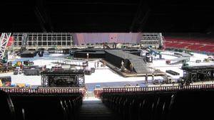 The Nou Camp, in Barcelona, gets the U2 treatment in preparation for the launch of the band's 360 world tour