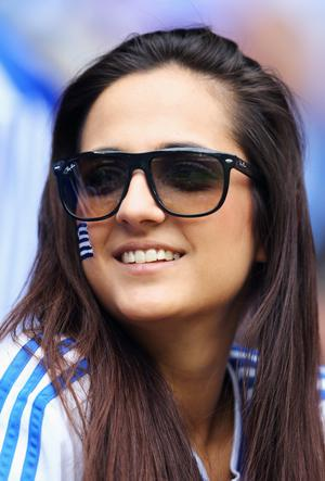 WROCLAW, POLAND - JUNE 12:  A Greece fan enjoys the pre match atmosphere during the UEFA EURO 2012 group A match between Greece and Czech Republic at The Municipal Stadium on June 12, 2012 in Wroclaw, Poland.  (Photo by Christof Koepsel/Getty Images)